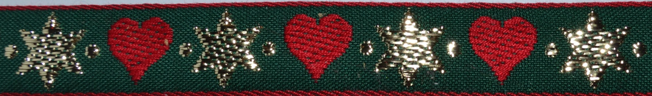 Holiday Stars and Hearts 1 inch Collar