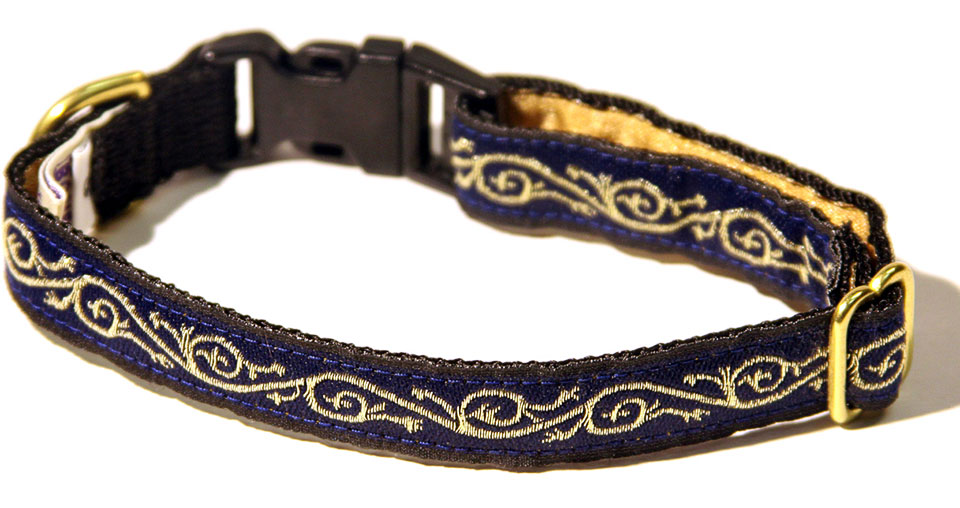 Navy Gold Scroll Dog Collar