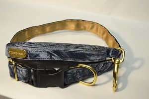 Slate Crushed Velvet 5/8 inch Collar