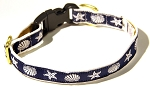 Seashells Navy 3/4 inch Collar