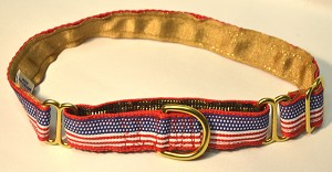 "They are proud to be an American Too! Let your dog show its patriotic pride with a Mrs. Bones American Flag collar, By The Way - Always Mrs. Bones Dog Collars are made in the US!.AvailableIn 5/8"", 3/4"", 1"" and 1.5"" widths.Complete the Ensemble!  Swiss Velvet Scarlet Red or Royal Blue Coordinating Leash in 4' or 6' feet length!"