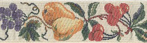 "Elegant European Woven tapestry fruit looks like a painting from the Louvre in fabric, Pears, Peaches and Cherries with Sage Greenery on a White background are always classic. 2"" width.Want to complete this Stylish ensemble? Mrs. Bones suggests color coordinating Swiss Velvet leash in Old Rose or GarnetAvailable in 2"" width in either Martingale or Single-Loop Style dog collars"