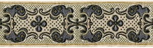 This stylized Vintage Woven Fabric with a center floral design framed in a Slate Metallic  Colored Baroque scrolling design on a Ecru White background is typical of the luxurios accoutrements in the Princes Palace of Monaco. This is one of the most beautiful fabrics to make your dog collar out of, the weaving has a three dimensional effect.