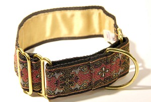 A finished Martingale style Collar in this stylized Vintage Woven Fabric with a center floral design framed in a Slate Metallic  Colored Baroque scrolling design on a Fuchsia background is typical of the luxurious accoutrements in the Princes Palace of Monaco. This is one of the most beautiful fabrics to make your dog collar out of, the weaving has a three dimensional effect.