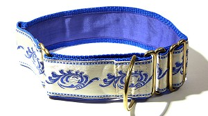 This Masterpiece Vintage Dog Collar is so formal I do believe a dog could wear it to the Opera and get in. Ecru White Satin with Royal Blue embroidered embellishments