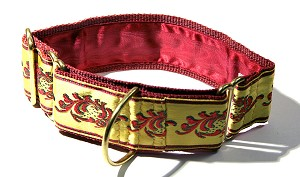 This Masterpiece Vintage Dog Collar is so formal I do believe a dog could wear it to the Opera and get in. Buttercream Satin with Garnet embroidered embellishments.