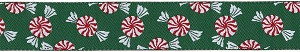 "They are Merry and They're Mints!!! Festive Dancing holiday peppermints on a Green background.  Available in Standard, Martingale or Single Loop Style Collars  Available in 1"" width"