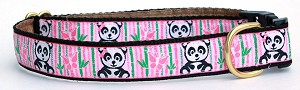"Cute Animae Panda Bears on a Pink Bamboo background with Black Accents for your little darling.Available in 1"" width in Standard, Single Loop or Martingale Dog Collars"