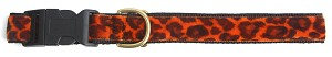 "Orange Cheetah Standard Dog Collar in 1"" inch"