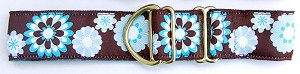 "GROOVY!! Named after the famous Carnaby Street in London, England. The birthplace of Sixties Retro blooms in Brown/Blue in 1.5"" width. Available in 5/8"" or 3/4"",and 1""   wide dog collars and 4-foot or 6-foot long 5/8"" wide matching leash."