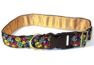 "Shown in 1inch Large Standard Collar.  Our very first Mrs. Bones Signature Fabric inspired by Murano or Milifori beads. Fun bold and graphic whimsical a La Fabulous Dog Collar and leash set makes your dog look LA FABULOUS! Photographs really well too and is available in 5/8"",3/4"", 1"" and 1.5"" widths Yellow, Green, and Red Beads on a Black background color. Matching Leash available"
