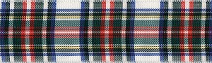 This is the Dress version of the Royal Stewart Tartan, the colors are White, Red Hunter , Navy , Black, dominant being White