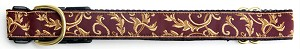 The Lauren Dog Collar, One of our popular Signature fabrics has Camel colored scroll design on an Brownish Burgundy background very elegant and looks great on any color dog. Shown in 3/4 inch width