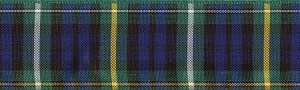 The Clan Campbell is Gaelic Cam Beul for Crooked Mouth (a curious fact). The primary colors are Navy and Hunter Green with Yellow and White lines through it.