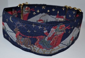 """ HO ! HO !  HO ! Merry Christmas ! "" As Santa glides on this navy wintery night !  Available in Martingale or Single Loop Style Collars  Available in 2"" width"