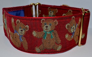 "Adorable teddy bears with bows on a garnet background.  Available in 2"" width."