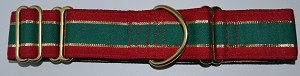 "This festive collar has Red and Green Stripes with gold piping.  Available in 3/4, 1, 1.5, or 2"" width."