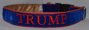 Is your dog routing for Donald Trump ?  Show their support with this one of a kind Trump Embroidered dog collar !