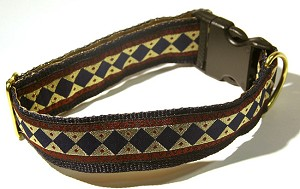 "Classic and Refined as the Roman philosopher it is named after, Navy diamonds on a soft Metallic Gold background with Garnet borders embellished with black Roman symbols.1.5"" width in Standard, Single Loop or Martingale Style Dog Collars"